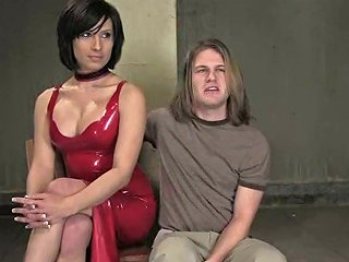 Dominant Tranny Playign With A Submissive Long Haired Dude